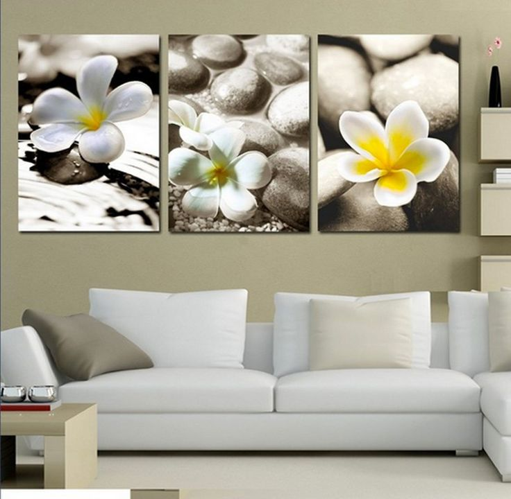 Amazon.com - Hot Sell 3 Panels 40 x 60 cm Modern Wall Painting Hot Stone White Flowers Picture Home Decorative Art Picture Paint On Canvas Prints -