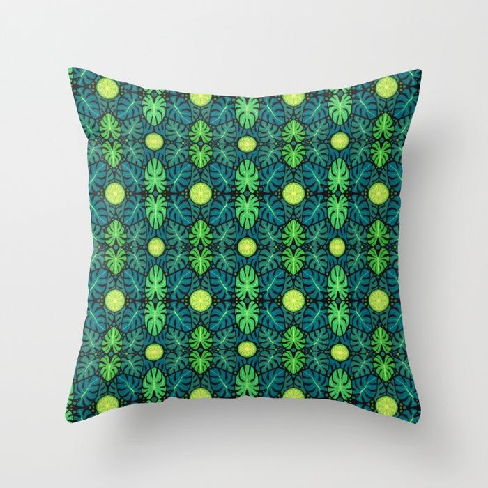 Buy Monstera leaves, floral pattern, black, green & turquoise Throw Pillow by clipsocallipso. Worldwide shipping available at Society6.com. Just one of millions of high quality products available.