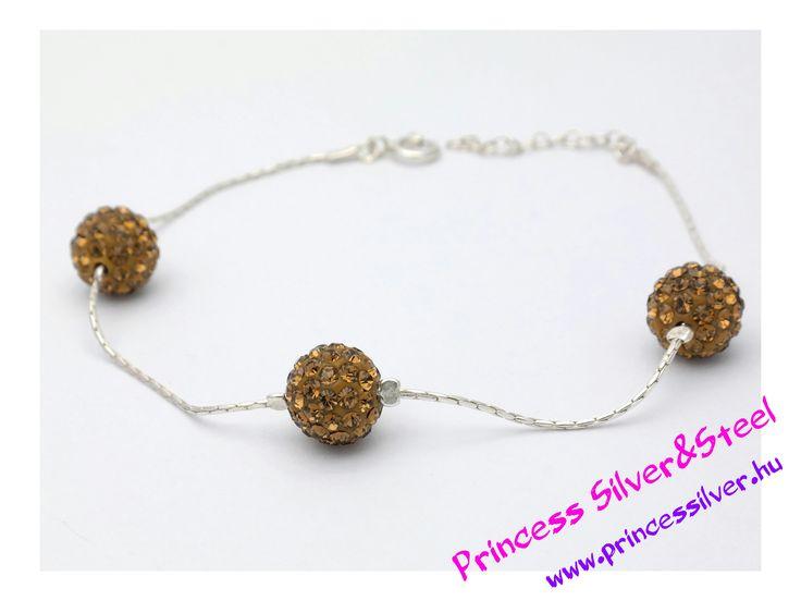 Ezüst karkötő, barna Swarovski kristályos gömbökkel. www.princessilver.hu