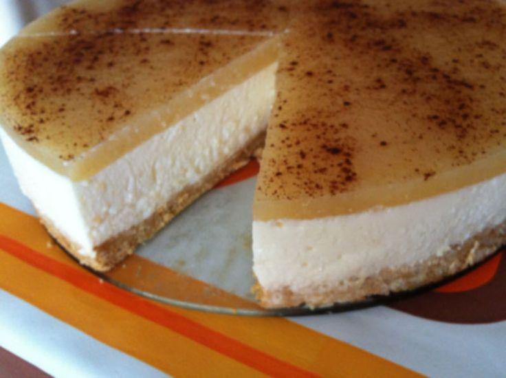 Receta de Tarta de queso y pera de dificultad Media para 6 personas lista en 60 minutos.