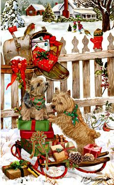 "New for 2011! Norwich Terrier Christmas cards are 8 1/2"" x 5 1/2"" and come in packages of 12 cards. One design per package. All designs include envelopes, your personal message, and choice of greeting.Select your inside greeting from the menu below.Add your personal message to the Comments box during checkout."