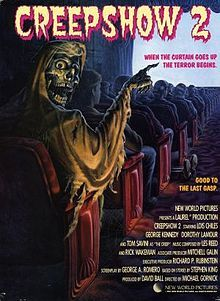 5/1/1987 Creepshow 2 (sequel to the 1982 film) starring Lois Chiles, George Kennedy, Dorothy Lamour & Tom Savini. It includes 3 stories and a wraparound, the scenarios of which were written by King and adapted by George Romero for the screenplay. The segments include Old Chief Wood'nhead, The Raft, and The Hitchhiker (Stephen had a cameo in this segment as a truck driver), and the wraparound)