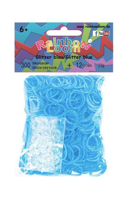 Rainbow Loom Glitter blauw met 12 clipjes. Nieuwste rage, wees er snel bij! Maak met de clips en elastiekjes de mooiste armbandjes en accessoires. Dit zakje bevat maar liefst 300 glitter blauwe elastiekjes en 12 clips.  http://www.planethappy.nl/rainbow-loom-glitter-blauw-met-12-clips.html