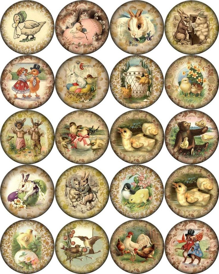 "Vintage Easter pictures on round asst. size bottle caps 63 1"", 30 1.5"" 20 2"" #2"