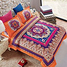 Newrara Home Textile Boho Bedding Set Bohemian Bedding Bohemian Style Bedding Set Bohemian Duvet Covers Peacock Bedding Set Unique Designer Bedding Sets Ropa De Cama Paisley Bedding Colorful Duvet Cover Bedding Set Full/queen,4pcs (King, color4 (not include comforter))