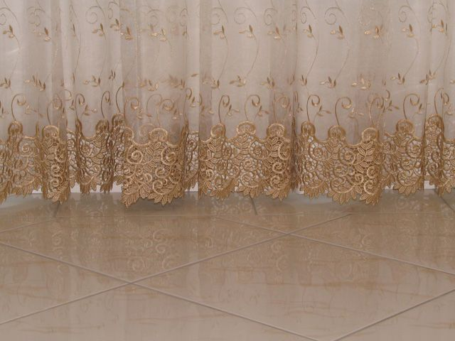 Beautiful Gold Embroidery On White Curtains Curtains
