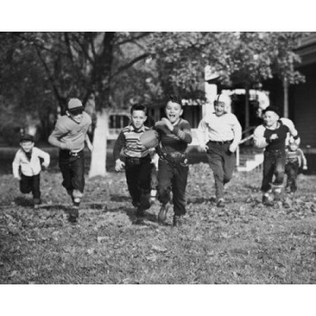 Group of boys playing football Canvas Art - (18 x 24)