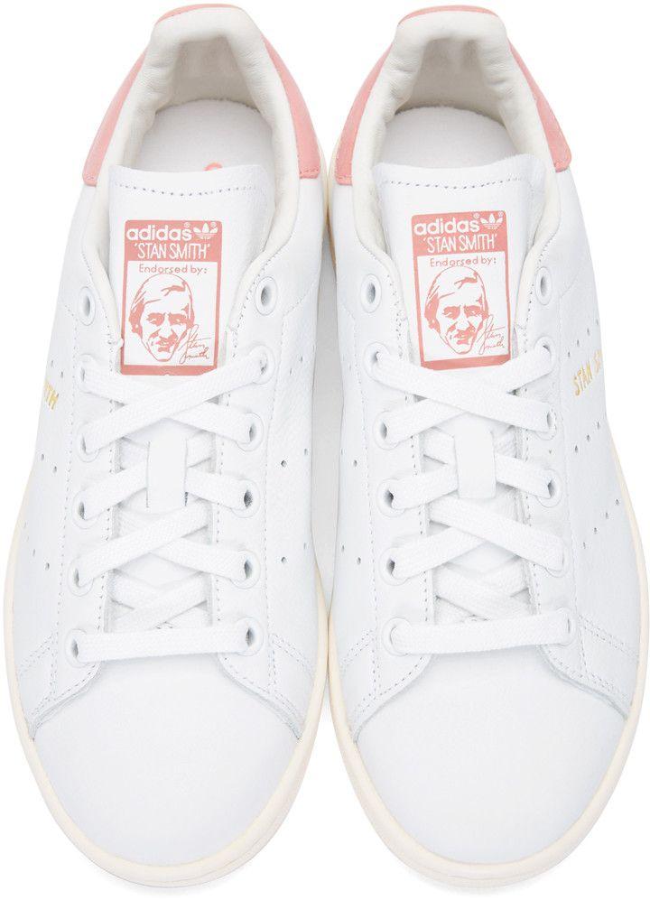 adidas Originals - White & Pink Stan Smith Sneakers