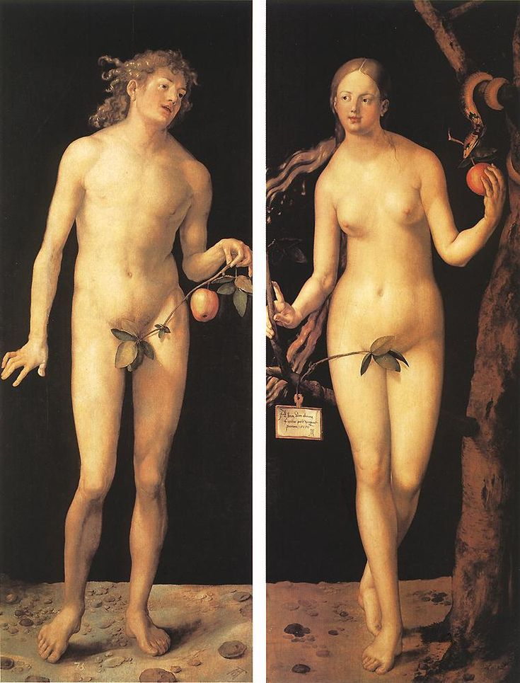 Albrecht Dürer. Adam and Eve, 1507.// Another piece by Durer, again Adam and Eve are censored with leaves. I like the depiction of the snake on the right of the painting that seems to be passing Eve the apple.