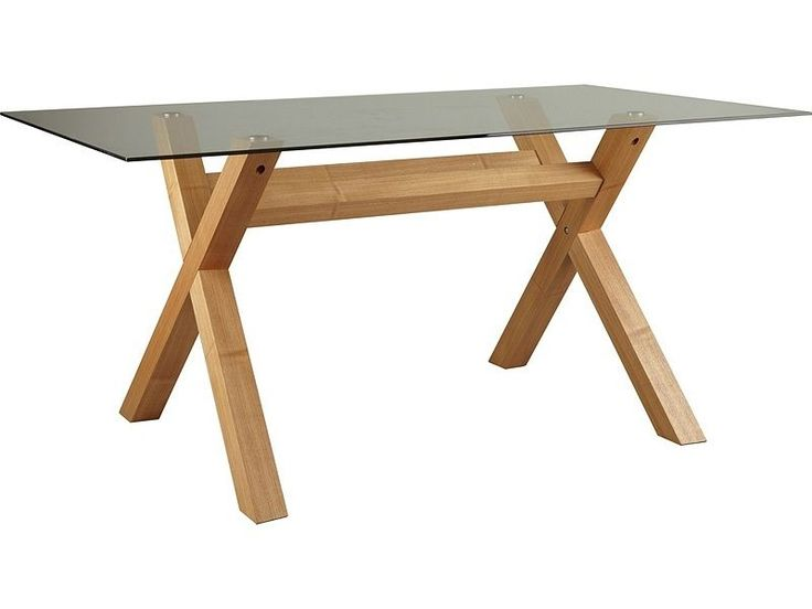 Hartley Oak Veneer Cross Leg and Glass Top Dining Table - RRP £199.99. The oak veneered cross legs make a perfect centre piece and the toughened glass top looks sleek whilst being durable and ultra safe. | eBay!