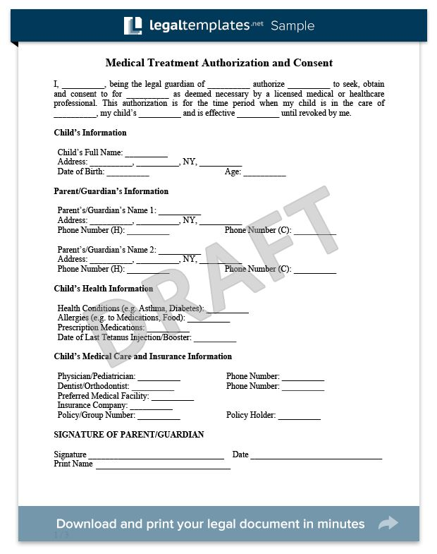 Child Medical Consent Form Sample - For more information on the Child Medical form and how to get one for free, visit https://legaltemplates.net/form/child-medical-consent/