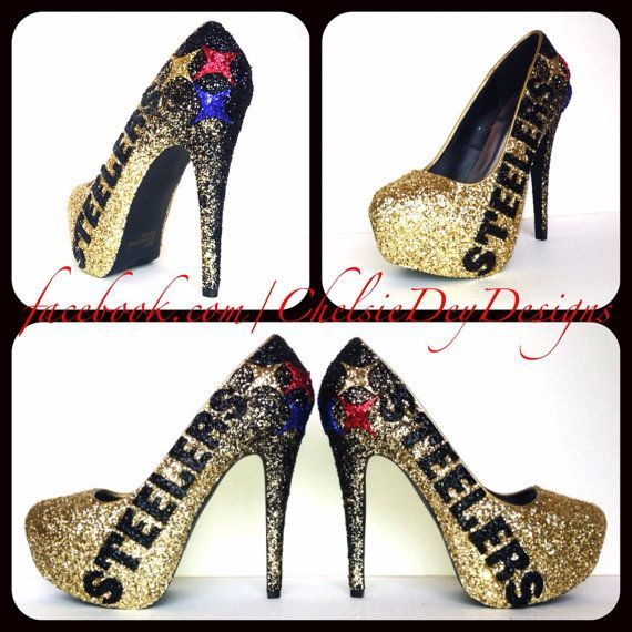 Steelers High Heels Pittsburgh Steelers Glitter High Heels My Style Acereros Pinterest