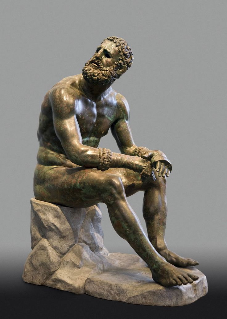 """Exhibition: 'Power and Pathos: Bronze Sculpture of the Hellenistic World' at the J. Paul Getty Museum, Getty Center, Los Angeles. http://artblart.com/2015/10/28/exhibition-power-and-pathos-at-the-j-paul-getty-museum-getty-center-los-angeles/ Art work: Seated Boxer, """"The Terme Boxer"""" 300-200 B.C. Greek, from Herculaneum Bronze and copper"""