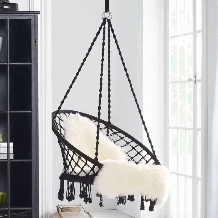Hängesessel zur Deckenbefestigung Baumwolle & Polyester, Sessel Sitz Ø 58 cm NEU in Garten & Terrasse, Möbel, Hängematten   eBay!