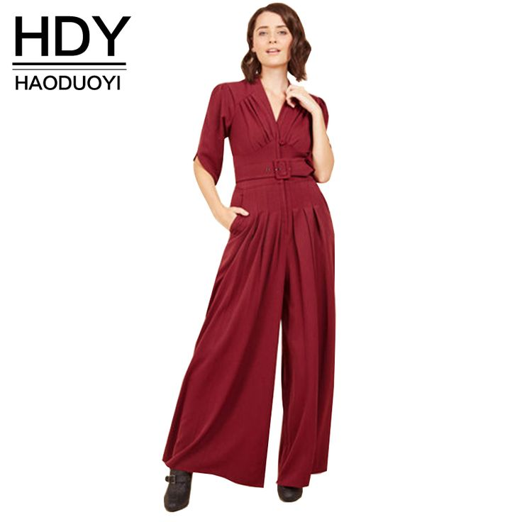 HDY Haoduoyi 2017 Summer High Waist Slim Pocket New Woman Jumpsuit Romper V-Neck Short Sleeve Harem Fashion Jumpsuit
