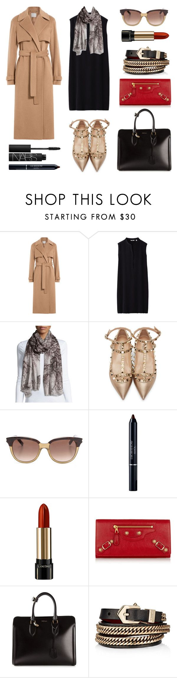 #Street Style: Gold Ankle Wrap Flats by sandycyh on Polyvore featuring Uniqlo, Jason Wu, Valentino, Alexander McQueen, Balenciaga, Givenchy, St. Piece, Yves Saint Laurent, NARS Cosmetics and Lancome #fashion #fashionset #style #streetstyle #polyvore #polyvorecontest #camelcoat #camel #coat #jasonwu #black #blackdress #dress #uniqlo #leatherbag #totebag #AlexanderMcQueen #wallet #Balenciaga #anklewrapflats #valentino #sunglasses #saintlaurent #scarf #cashmerescarf #stpiece #st_piece #jewelry…