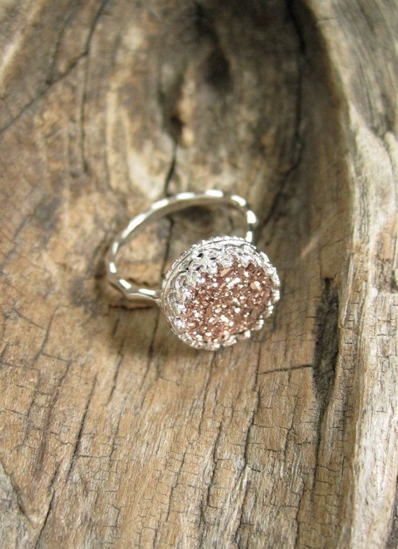 Rose Gold Druzy Ring Titanium Drusy Quartz Ring by julianneblumlo