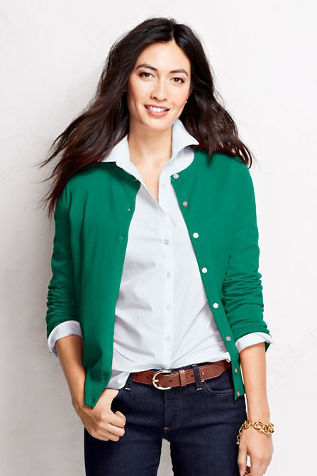 """Women's Supima Cardigan Sweater from Lands' End. """"Emerald Gulf"""" green could be T4, but it might be T1.  Lots of great colors, though."""