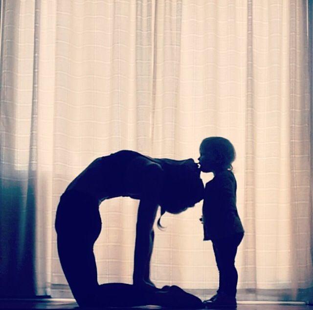 yoga camel pose. yoga with kids. backbend. baby yoga. @learningtobalance
