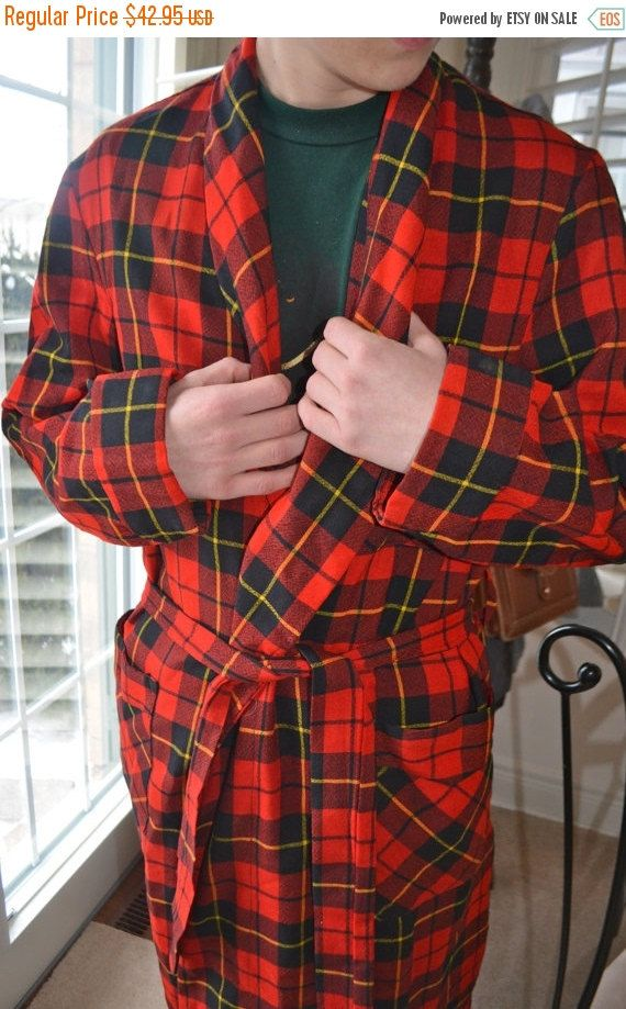 tailored Tartan Robe Wonderful Vintage Red Tartan Men's Robe by Majestic Made in Canada Wool Blend Get Your Scottish On! by StudioVintage on Etsy