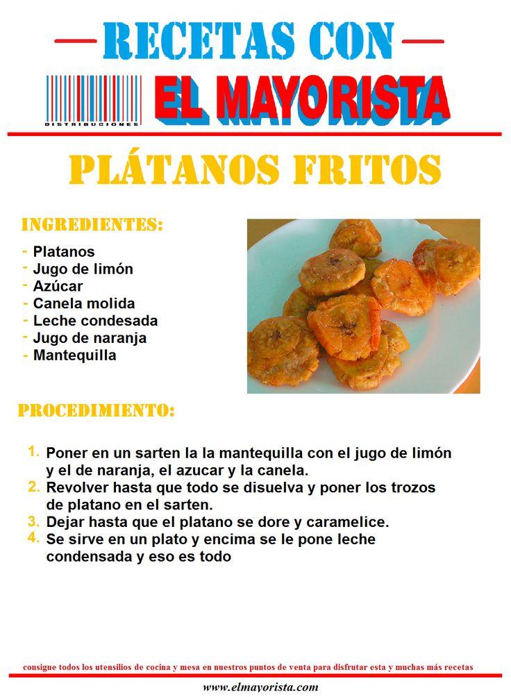#recetas con #elmayorista PLÁTANOS FRITOS  Consigue todos los utensilios de mesa y cocina en nuestros puntos de venta para disfrutar esta y muchas recetas más.