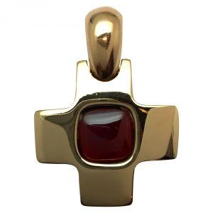 Pendentif croix Pomellato en or jaune, grenat.