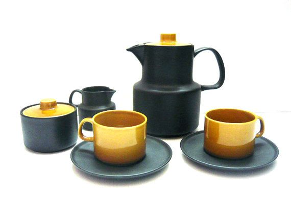 MELITTA Coffee set for two people . Black and ochre color . Germany . Vintage 1960s