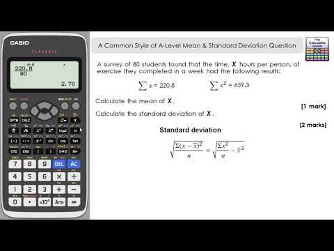 A-Level Maths Common Mean & Standard Deviation Question (Casio