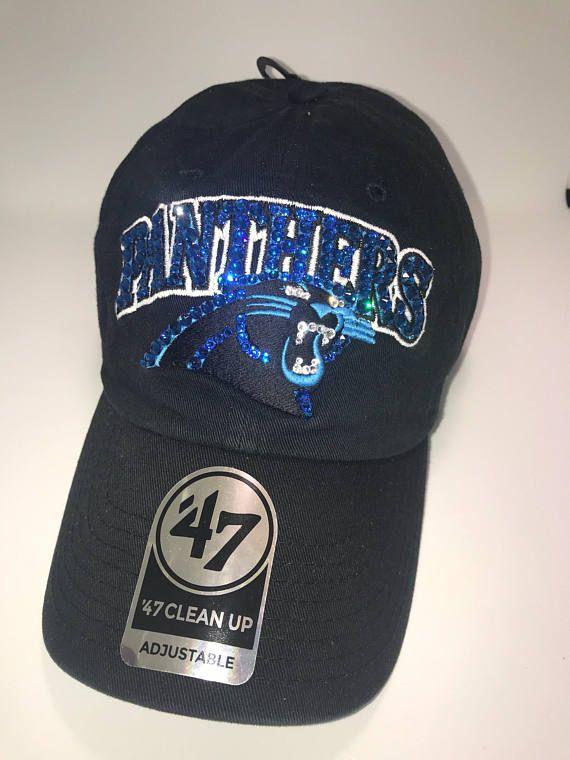 Swarovski crystal bling Carolina Panthers adjustable hat