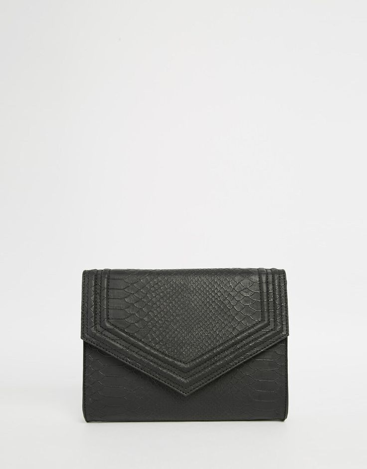 ASOS Textured Clutch Bag With Panel Detail