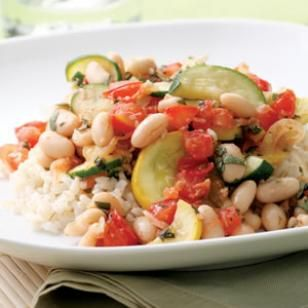Summer Squash & White Bean Sauté Recipe... Note from Mona:  Less than 200 calories per serving.  Doesn't it just scream summer? :-)  Tip:  Look for low-sodium beans to cut the salt impact.