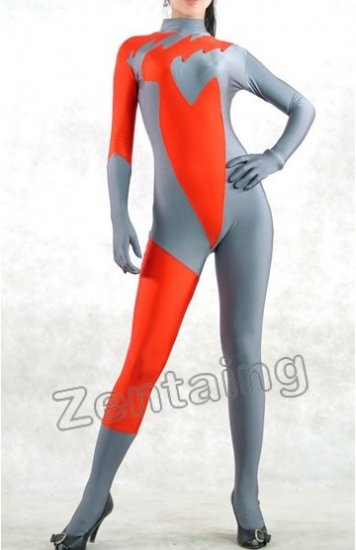 Orange And Grey Lycra Spandex Catsuit