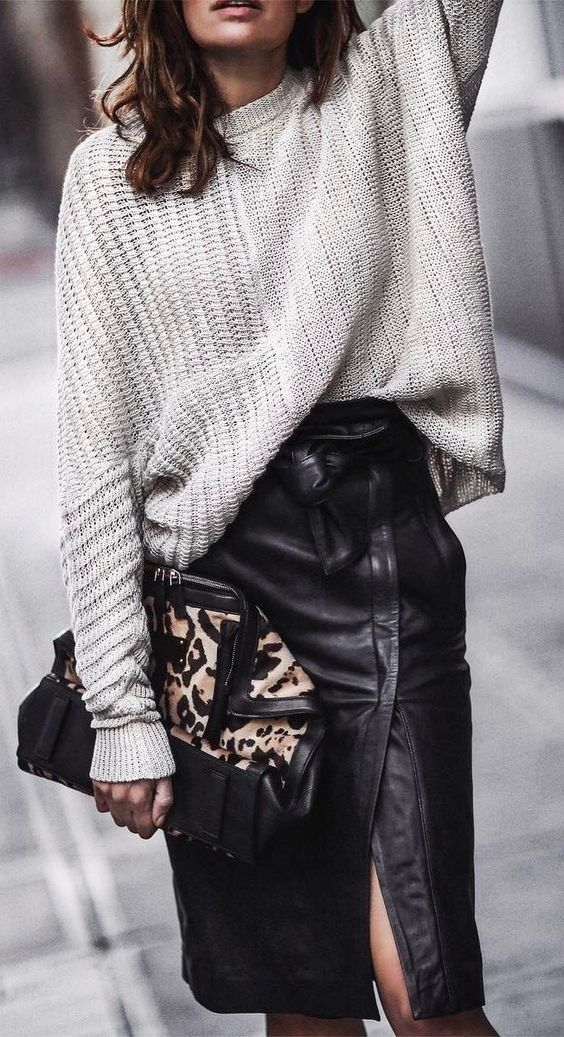 knit + leather. midi skirt. street style. fall outfit.