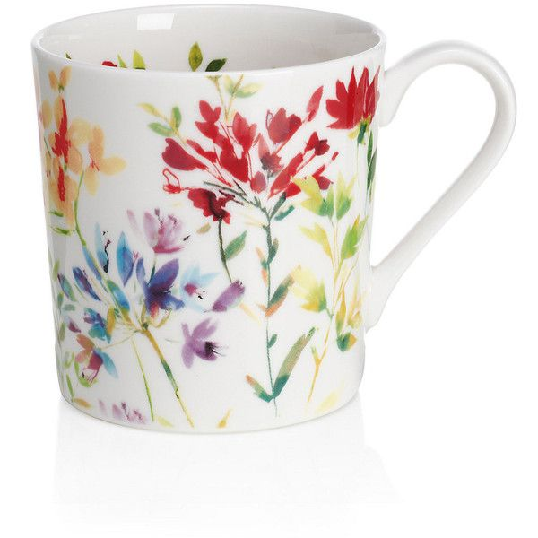 Spring Meadow Floral Mug M&S ($11) ❤ liked on Polyvore featuring home, kitchen & dining, drinkware and floral mugs