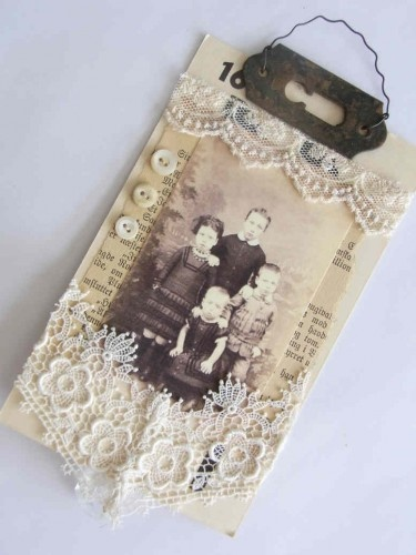 Lace tag w, keyhole and vintage photos