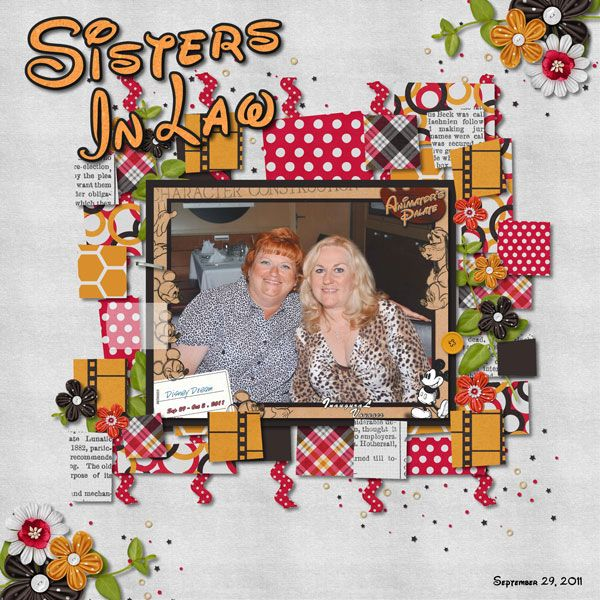 Sisters In Law Credits: Credits: Temblate by Fiddle-Dee-Dee Designs Funky Paper Play 4 - Template 3 (Retired) Mickey Mouse Club March (Iron Scrapper Week 1 Content) by Chelle's Creations Zoo Crew {Artic} by Chelle's Creations (honeycomb paper recolored) CU - Kanzashi Flowers {6 petal} by Chelle's Creations Tape is my own creation Walt Disney Script v4.1