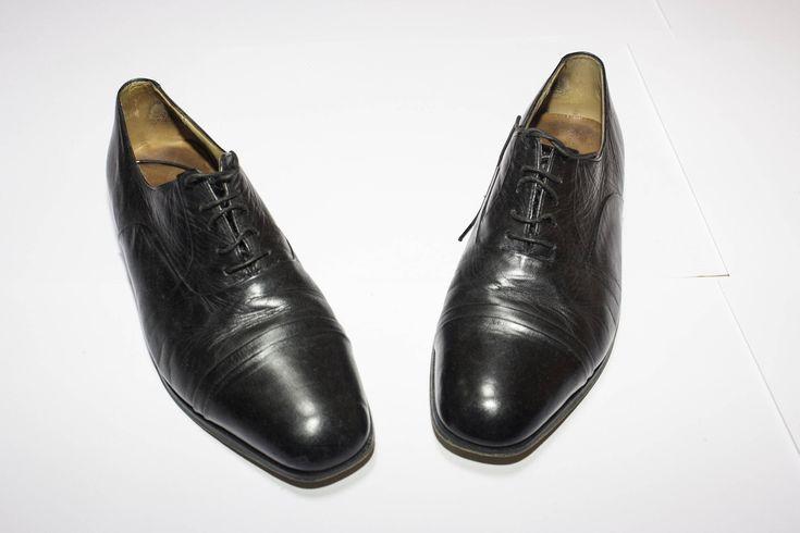 Scarpe vintage in pelle nera made in London numero 42 di Lindymarket su Etsy