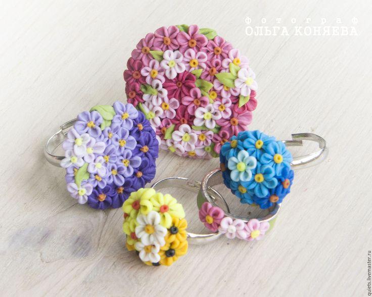 Купить Кольца цветочные из полимерной глины на заказ - цветочное украшение, цветочное кольцо, кольцо с цветами