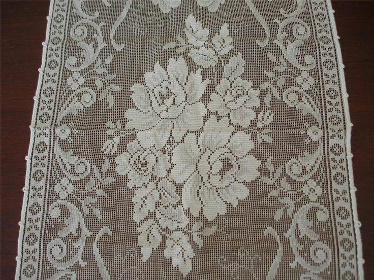 Elegant Vtg Lace Dresser Scarf Iris