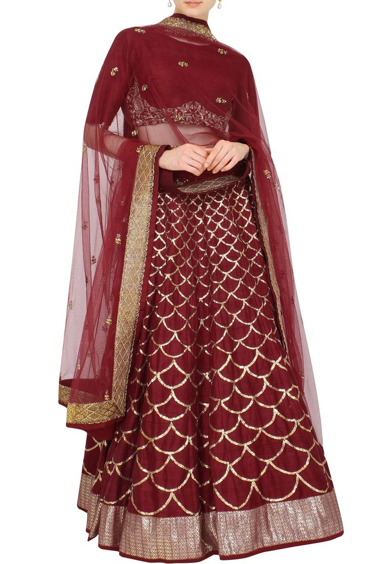 Maroon red lehenga with scarf
