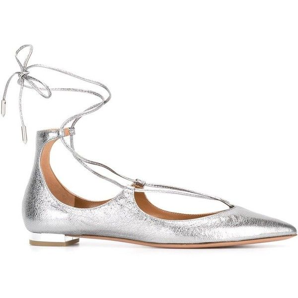 Aquazzura Christy Flat Ballerinas ($425) ❤ liked on Polyvore featuring shoes, flats, silver, leather ballerina flats, aquazzura flats, ballet shoes, real leather shoes and leather shoes
