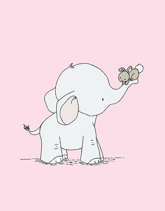 Rosa Elefant Kinderzimmer Kunst – Kinderzimmer Dekor – Set 3 Drucke – Elefant und Bunny Kinderzimmer Kunst – Kinder Wandkunst – Bubble Gum Pink Farbe # 6