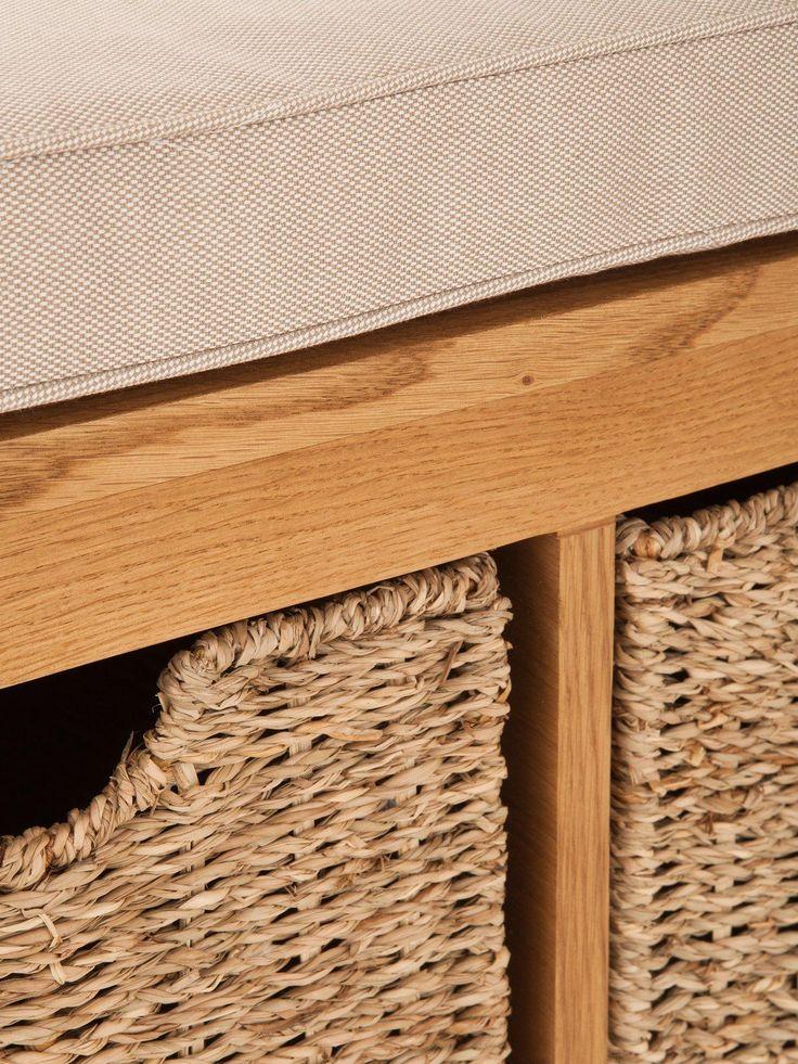 London Ready Assembled Oak Hallway Storage Bench