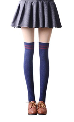 Toyobuy Women Stripe Over the Knee Thigh High Tube Socks Boots Stockings Navy >>> Check out the image by visiting the link.