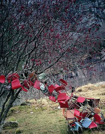 Norwegian artist Rune Guneriussen, creates these fairy tale installations but these installations are never seen by an audience only photographed by Guneriussen. His work is the approach to the balance between nature and culture.