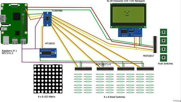 Schematic for Computer Chess Board using Raspberry Pi