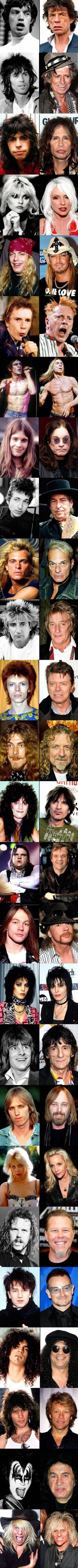 Musical Aging Timeline — 26 rock stars, then and now. (Click pic for full size viewing).