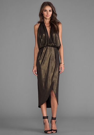 NAVEN Glam Halter Dress in Knit Lame/Metallic Gold - Dresses