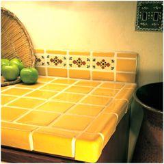 Mexican Tile Bathroom Counter Yellow