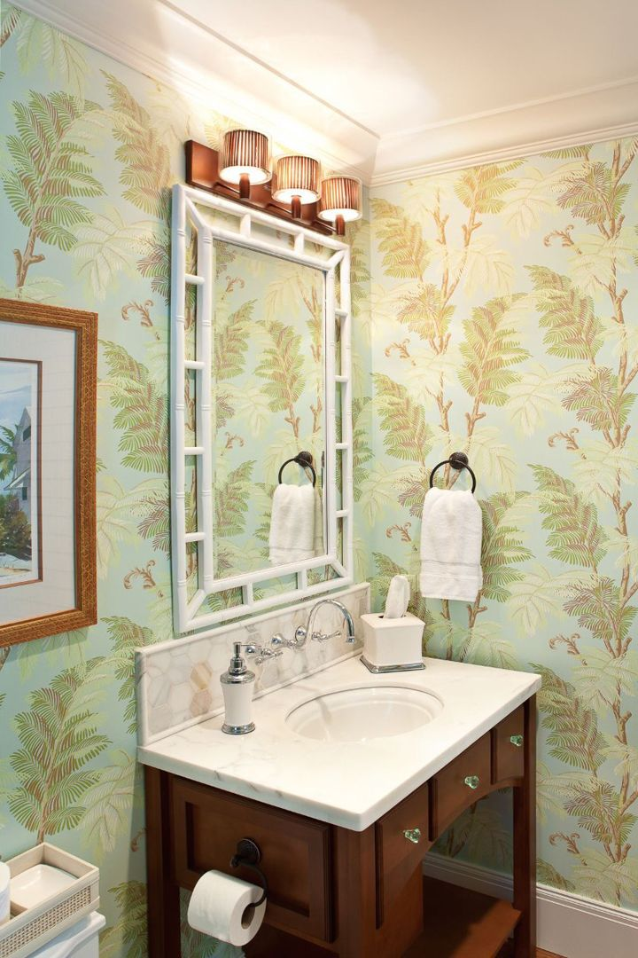 279 best Wallpapered Bathroom images on Pinterest | Bathroom ideas ...